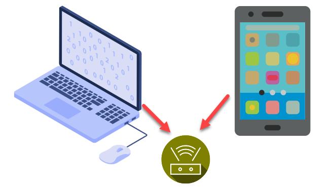 Điện thoại và máy tính cần chung một mạng wifi hoặc mạng dây và wifi cùng một modem