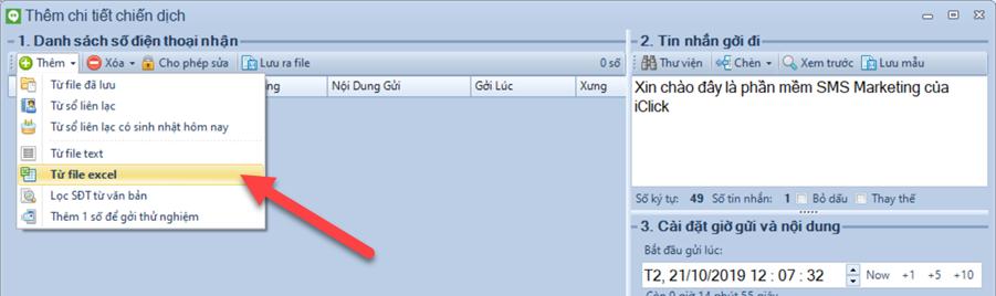 Nhập danh sách số điện thoại từ File Excel
